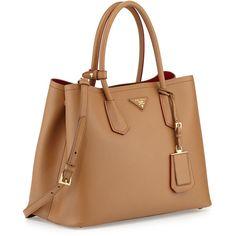 Prada Saffiano Cuir Medium Double Bag (42.205 ARS) ❤ liked on Polyvore featuring bags, handbags, handbags totes, camel leather tote, leather tote, prada tote and prada handbags