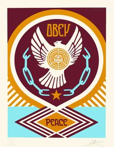 Available for sale from Black Book Gallery, Shepard Fairey, Peace Series - Peace & Freedom Dove Screen print on paper, 18 × 14 in Screen Printer, Silk Screen Printing, Shepard Fairey Obey, Mandala, Target, Peace Dove, Black Books, Custom Framing, Freedom