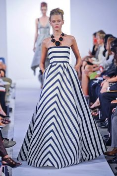 Looks very similar to the gown Michelle Dockery (from Downton Abbey) wore in a watercolor earlier last year.      Oscar de la Renta Spring 2013 Striped Gown