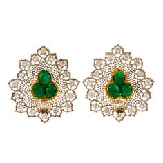 Buccellati Buccellati Gold Emerald and Diamond Tulle Earclips