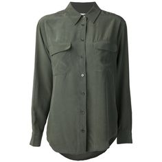 EQUIPMENT 'Signature' button down shirt ($125) ❤ liked on Polyvore featuring tops, shirts, blouses, long sleeve collared shirts, silk button up shirt, button front shirt, olive green long sleeve shirt and long sleeve shirts