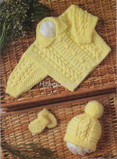 Baby aran jacket hat mitts Knitting Pattern pdf baby by Hobohooks