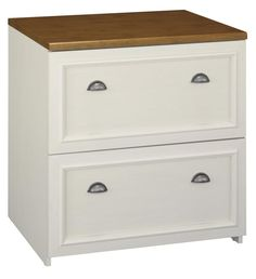 2 Drawer Lateral File Antique White / Tea Maple By Bush   1 800