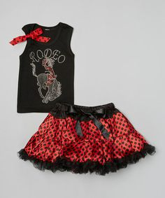 Look what I found on #zulily! Black 'Rodeo' Tank & Red Pettiskirt - Infant, Toddler & Girls #zulilyfinds