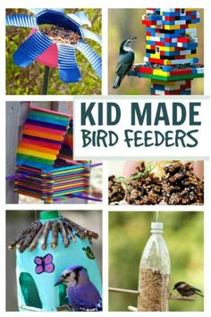 18 totally awesome bird feeder crafts for kids. I love the Lego bird feeder! Spring Crafts For Kids, Crafts For Kids To Make, Craft Activities For Kids, Crafts For Teens, Kids Crafts, Bird Feeders For Kids To Make, Bird Feeder Craft, Homemade Bird Feeders, Earth Day Crafts