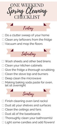 How to spring clean your house (the lazy way) in a weekend! Quick and easy check… How to spring clean your house (the lazy way) in a weekend! Quick and easy checklist for deep cleaning your home in just three days. Spring Cleaning Checklist, Deep Cleaning Tips, House Cleaning Tips, Cleaning Solutions, Cleaning Hacks, Cleaning Products, Cleaning Lists, Cleaning Schedules, Weekly Cleaning
