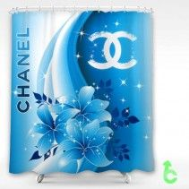 Chanel Beautiful Blue Flowers Shine Shower Curtain