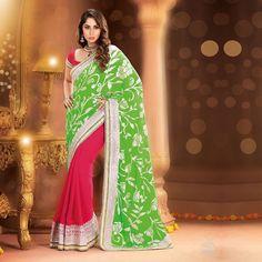 Pink & Green Saree at just 2045/- #sarees #fashion #musthaves #sangeetaghosh #pink #green #yellow #white #fashion #international #musthave #usa #uk