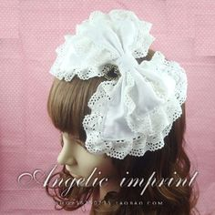 Princess sweet lolita hair accessory cos hair band cosplay hairband white lace bow cos accessories big bow #Affiliate