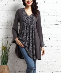 This Charcoal Damask-Panel V-Neck Tunic Dress is perfect! #zulilyfinds