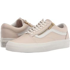 Vans Old Skool Zip ((Leather) Whispering Pink/Blanc de Blanc) Lace up... ($41) ❤ liked on Polyvore featuring shoes, neutral, zip shoes, lace up shoes, genuine leather shoes, low top and toe cap shoes