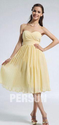robe cocktail mariage jaune bustier coeur plissé
