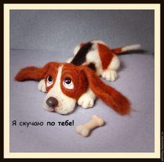 """Купить Щенок-"""" Я по тебе скучаю"""" - комбинированный, собачка, собака из шерсти, собака игрушка"""