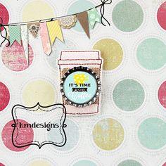 Bottle cap Cappacino Coffee Feltie ITH Embroidery design file
