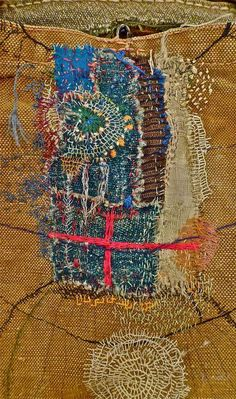 """Marisa Ramirez : Photo """"Japanese textile artist Junko Oki calls her work 'Woky Shoten' meaning 'free movement of the line to make a simple repetition of work'. Her intricate embroideries have a worn vintage quality with layers of meticulous stitch work creating pathways and pattern"""""""