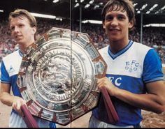 10 August 1985 Trevor Steven and Gary Lineker show off the Charity Shield following a 2-0 victory over United