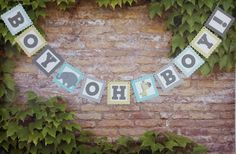 This ADORABLE Elephant and Giraffe-themed Boy Oh Boy banner is the perfect accent for your baby shower! The lettering is cut from a gray card stock