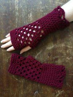 Openwork Gloves - free crochet pattern by Kitty Adventures.