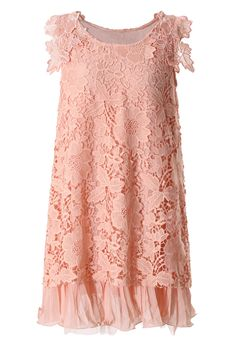 Full Crochet Floral Pink Dress with Fluted Hemline