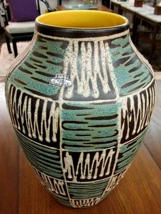 Squiggly West German pottery vase