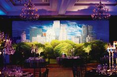 City Backdrop, great for showing your hometown at weddings too! | SocialTables.com | Event Planning Software