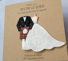HANDMADE PERSONALISED SCOTTISH KILT THANK YOU CARD MUM AND DAD BRIDESMAID NANA