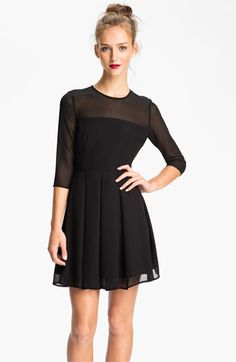BB Dakota Illusion Yoke Pleated Fit & Flare Dress available at #Nordstrom