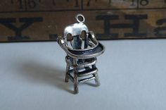 Vintage Sterling Charm High Chair Baby pendant Miniature Beau silver
