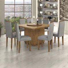Conjunto Sala de Jantar Mesa Tampo MDF Selene 8 Cadeiras Dafne Móveis Lopas Rovere/Linho Cinza - Móveis para Salas de Jantar - Magazine Luiza