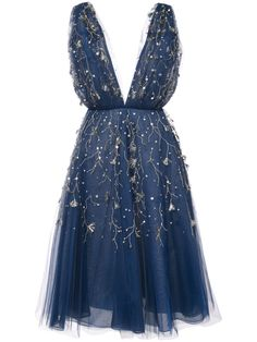 Oscar de la Renta embroidered flared midi dress - Another! Midi Flare Dress, Midi Cocktail Dress, Blue Midi Dress, Pretty Dresses, Beautiful Dresses, Blue Colour Dress, Oscar Dresses, Evening Dresses, Calf Length Dress