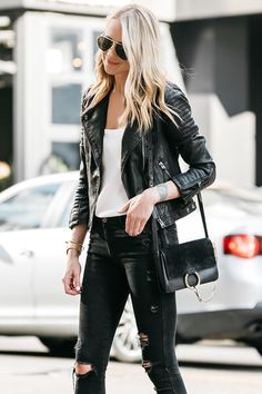 630938bb2ce white and black fall inspiration  jacket + top + ripped jeans + bag +  heels. Kori Spencer