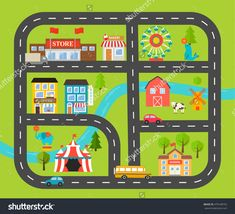Children Activity And Entertainment Play Mat With City Landscape And Cars. With Park, Circus, Car Road, Farm, Buildings, Plants. Vector Illustration - 470148752 : Shutterstock