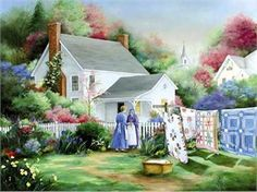 """Paula Vaughan Handsigned & Numbered Limited Edition Print:"""" Morning Visit"""" Artist:Paula Vaughan Title: Morning Visit Edition::Limited Edition S/N 950 Image x From the Artist : """"My paintings are just of simple, . Cottage Art, Cottage Ideas, Country Art, Vintage Pictures, Beautiful Paintings, Colorful Paintings, Art Paintings, Life Is Beautiful, Home Art"""