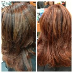 red head with copper subtle highlights
