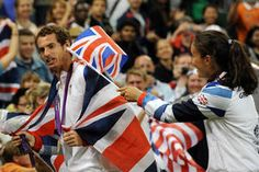 Andy Murray and Laura Robson joke around after the Victory Ceremony