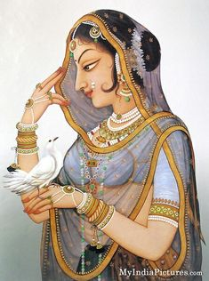 Traditional Beauty of Indian Lady Painting