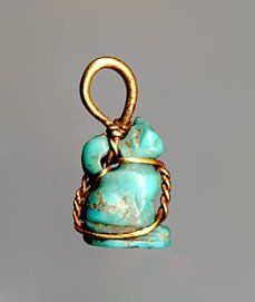 Turquoise pendant in the form of a seated cat 600-400 BC Cypriot (Source: The British Museum)