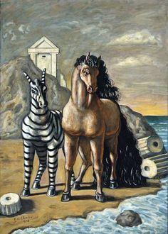 """Giorgio de Chirico """"Cavallo e zebra """", 1948 , Musée d'Art Moderne de la Ville de Paris Italian Painters, Italian Artist, Magritte, Egypt Art, Paris Ville, Art Moderne, Horse Art, Surreal Art, Famous Artists"""