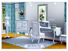 A Queen Anne styled set of furnishing for a modern sewing room. It's the perfect setting for a Sims who loves sewing and handcrafts.The  All Sewn Up set includes a professional sewing machine...