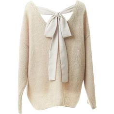 Relaxfeel Women's Back Bow Halter Loose Sweater Beige ($32) ❤ liked on Polyvore featuring tops, sweaters, shirts, pull, relaxfeel, beige, bow shirt, travel shirt, loose shirts and pink shirt