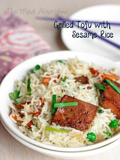 Grilled tofu with sesame rice