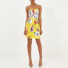 Yellow floral print strapless bandeau dress - party / evening dresses - dresses - women