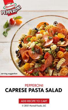 Summer Salad Recipes, Pasta Salad Recipes, Healthy Salad Recipes, Summer Salads, Appetizer Recipes, Dinner Recipes, Appetizers, Hormel Pepperoni, Caprese Pasta Salad