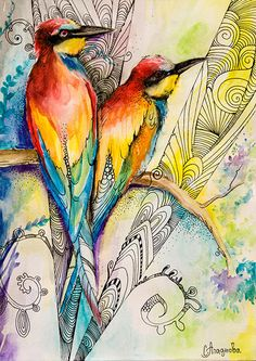 Love birds watercolor painting print 8 x 12 Colorful by SlaviART
