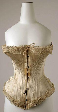 Corset Date: 1891 Culture: French Medium: silk, cotton, whale bone Accession Number: C.I.47.44.2