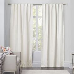 Opaque Linen Pole-Pocket Window Panel, Ivory At West Elm - Solid Curtains - Window Treatments White Linen Curtains, Plaid Curtains, Cotton Curtains, Window Drapes, Lined Curtains, Window Panels, Window Coverings, Window Treatments, Shades Window