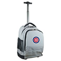 MLB Chicago Cubs Premium Wheeled Backpack - Grey
