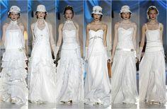 Vestidos a medio camino entre la novia rural y el look años 20, de la nueva colección de Inmaculada García, presentada durante la Barcelona Bridal Week