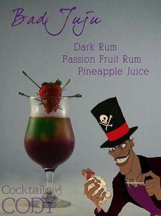 Disney Cocktails by Cody: Bad Juju Disney Cocktails, Halloween Cocktails, Cocktail Disney, Beste Cocktails, Disney Themed Drinks, Disney Mixed Drinks, Disney Alcoholic Drinks, Craft Cocktails, Party Drinks