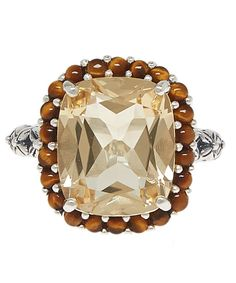 Stephen Dweck Yellow Quartz Cushion Ring available at Liberty London